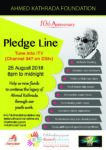 Join the Ahmed Kathrada Foundation pledge-line on ITV, Saturday, 25th August